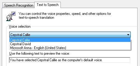Windows TTS voice selection menu in the control panel showing the Microsoft voices and a Cepstral voices